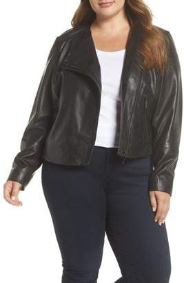 Halogen Collarless Leather Jacket