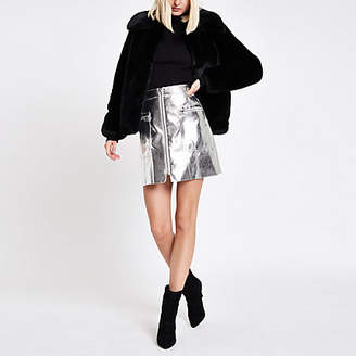 River Island Womens Silver metallic biker mini skirt