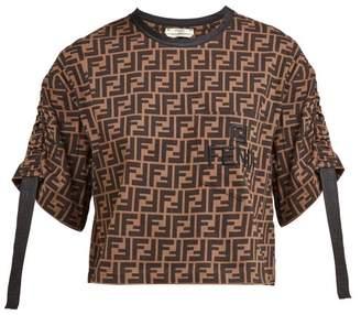 Fendi Ff Print Ruched Sleeve Cotton T Shirt - Womens - Brown Multi