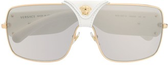 Versace Eyewear leather logo detail sunglasses