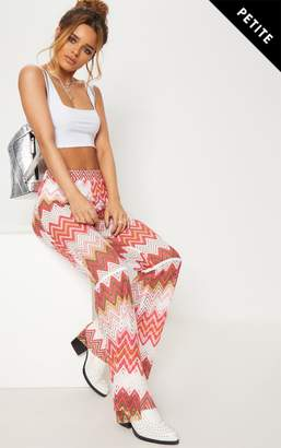 PrettyLittleThing Petite White Chevron Lace Flared Trousers