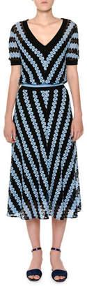 Missoni V-Neck Short-Sleeve Chevron Woven Midi Dress