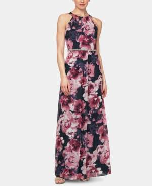 SL Fashions Floral-Print Halter Gown