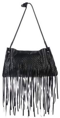 Bottega Veneta Large Intrecciato Fringe Bag Black Large Intrecciato Fringe Bag