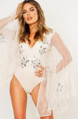 boohoo Premium Embellished Kimono Sleeve Bodysuit