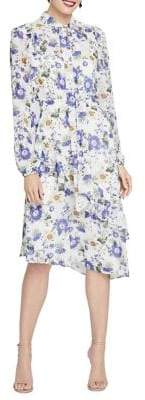 Rachel Roy Victorian Tie Neck Floral Ruffle Midi Dress