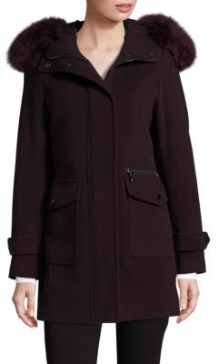 Trina Turk Addilyn Fox Fur Trim Coat $545 thestylecure.com