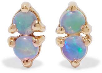 Wwake - Two Step Gold Opal Earrings