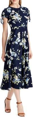 Chaps Floral Cotton Fit--Flare Dress