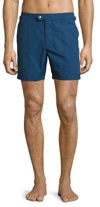 TOM FORD Solid Micro-Faille Swim Trunks, Bright Blue $390 thestylecure.com