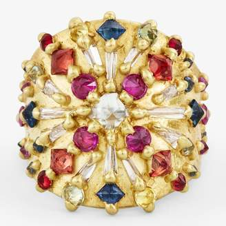 Polly Wales Ourika Diamond & Sapphire Shield Ring Gold