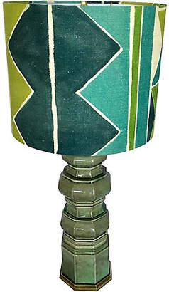 One Kings Lane Vintage Ceramic Lamp with Custom Larsen Shade - Heirloom
