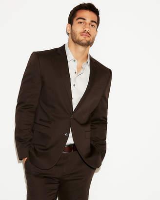 Express Slim Brown Cotton Sateen Suit Jacket