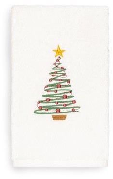 Linum Home Textiles Home Christmas Tree Embroidered White Turkish Cotton Hand Towel
