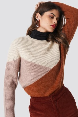 Na Kd Trend Color Blocked Round Neck Knitted Sweater Rust