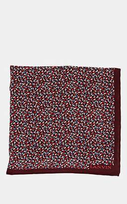 Lanvin Men's Abstract-Print Silk Twill Pocket Square - Red