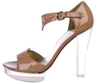 Stuart Weitzman Patent Leather T-Strap Sandals
