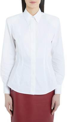 Sara Battaglia Puff Sleeve Cotton Poplin Shirt