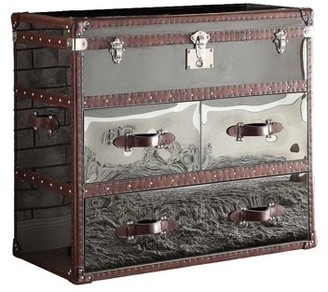 ACME Furniture ACME Aberdeen Sofa Table, Vintage Dark Brown Top Grain Leather & Stainless Steel