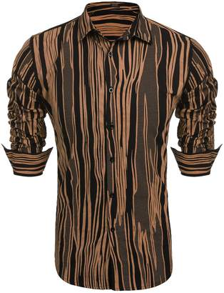 b8e77384 COOFANDY Men's Printed Button Down Shirt Long Sleeve Classic Fit Dress Shirt