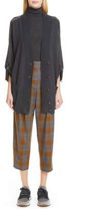 Brunello Cucinelli Glen Plaid Pleated Crop Trousers