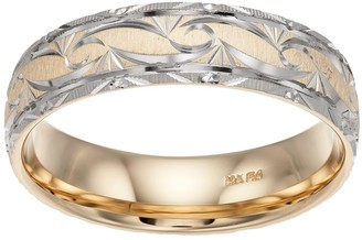 Men's Two Tone 14k Gold Textured Wedding Band