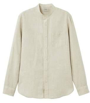 Mango Man MANGO MAN 100% linen mao collar shirt