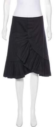 Marni Ruffled Knee-Length Skirt Black Ruffled Knee-Length Skirt