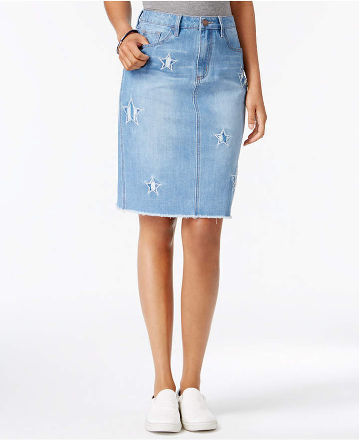 Buffalo David Bitton Ivy Star Patch Denim Pencil Skirt