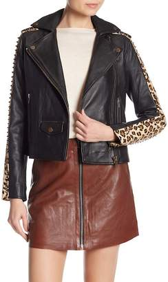 Muu Baa Muubaa Laurel Studded Leopard Print Genuine Hair & Leather Biker Jacket