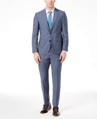 HUGO BOSS HUGO Men's Modern-Fit Medium Blue Sharkskin Suit
