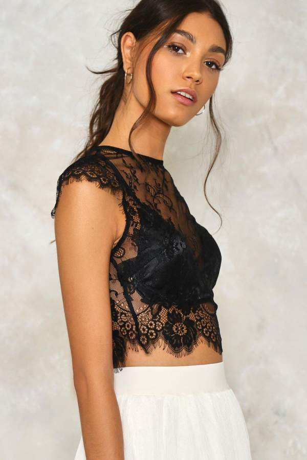 nastygal See it Through Lace Crop Top