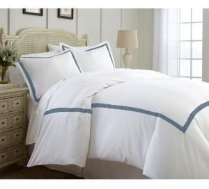 Modern Threads 600 Thread Count 3-Piece Satin Ribbon King Duvet Set Bedding