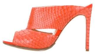 Alexandre Birman Snakeskin Cutout Sandals Orange Snakeskin Cutout Sandals