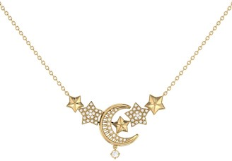 Lmj Star Cluster Crescent Necklace In 14 Kt Yellow Gold Vermeil On Sterling Silver