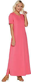 Denim & Co. Essentials Petite Split V-Neck KnitMaxi Dress