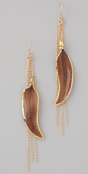 Bop Bijoux Brown Feather Earrings