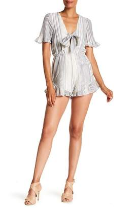 Lucca Couture Front Tie Short Sleeve Print Romper