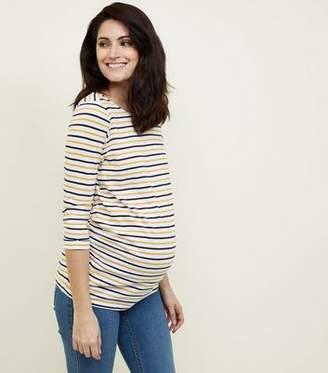 New Look Maternity Mustard Stripe 3/4 Sleeve T-Shirt