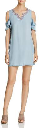 Billy T Embroidered Chambray Cold Shoulder Dress $122 thestylecure.com