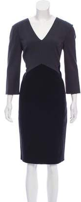 Narciso Rodriguez Long Sleeve Colorblock Dress