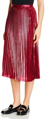Whistles Kitty Metallic Pleated Skirt $270 thestylecure.com