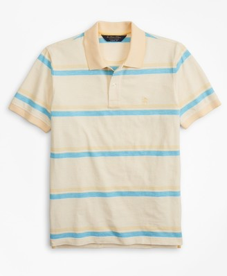 Brooks Brothers Original Fit Cotton and Linen Horizontal Stripe Polo Shirt