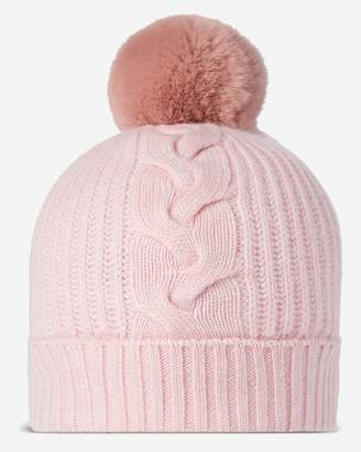 40cb34a931148 N.Peal Fur Bobble Cable Cashmere Hat
