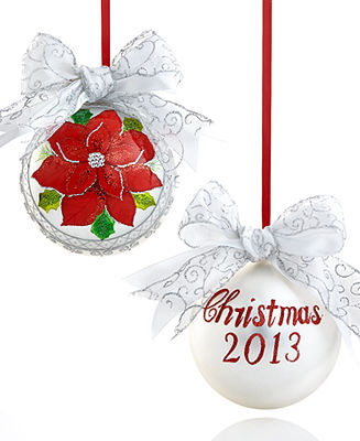 Holiday Lane Large Glass Dated Poinsettia Christmas Ornament