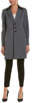 St. John Leather-Trim Wool Coat