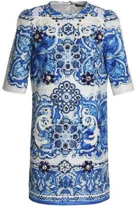 Dolce & Gabbana Embellished Cotton And Silk-Blend Jacquard Mini Dress