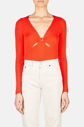 Altuzarra Reddy Deep V Fitted Top - Electric Orange
