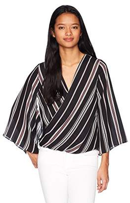 Amy Byer A. Byer Junior's Junior's Wide Sleeve Surplice Top