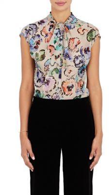 Giorgio Armani Women's Watercolor-Flower-Print Silk Blouse-WHITE $1,495 thestylecure.com